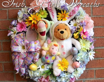 SALE Winnie the Pooh & Tigger Easter Wreath, Piglet, Easter Wreath, Spring Wreath, Disney Wreath, Bunny Wreath, Floral Easter, Hydrangea