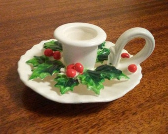 Holt-Howard Ceramic Candlestick Candle Holder White/Holly Berry w Label 1962
