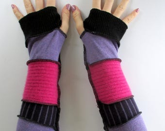 Arm Warmers - Handmade Gift for Mom - Boho Chic Upcycled Clothing - Recycled Sweaters - Best Sellers - Gift for Graduate - Eco - Pink Purple