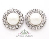 """Silver Pearl Plugs /Gauges. 4g / 5mm, 2g / 6.5mm, 0g / 8mm, 00g / 10mm, 1/2"""" / 12mm by GaugeQueenPlugs"""