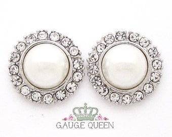 """Silver Pearl Plugs /Gauges. 4g / 5mm, 2g / 6.5mm, 0g / 8mm, 00g / 10mm, 1/2"""" / 12mm"""