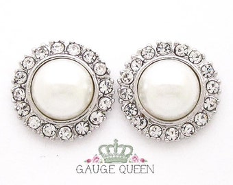"Silver Pearl Plugs /Gauges. 4g / 5mm, 2g / 6.5mm, 0g / 8mm, 00g / 10mm, 1/2"" / 12mm by GaugeQueenPlugs"