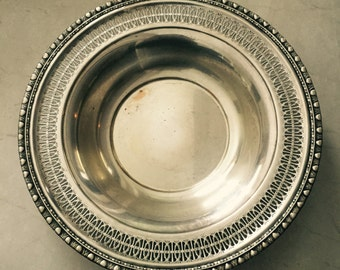 Vintage Silver Bowl Tray Rogers & Brother Large Silver Bowl