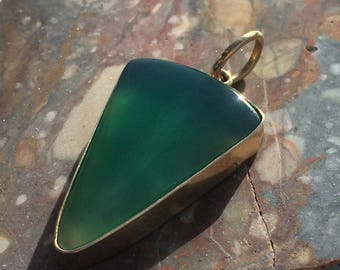 Peruvian Turtle Back Gem Silica set in 14kt gold (Grade AAA) Peruvian Chrysocolla