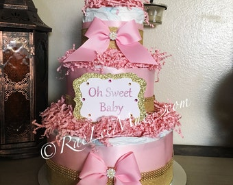 Girl diapercake/beautiful pink and gold diapercake/pearls and bling diapercake/girl baby shower gift/princess diapercake/oh sweet baby