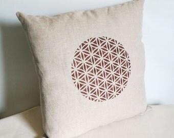 Linen Pillow Cover, Flower of Life Decor, Flower of Life Pillow, Sacred Geometry, Linen Throw Pillow, Handmade Pillow