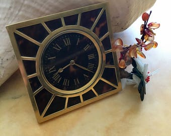 FRENCH DECO CLOCK Tortoiseshell Bought in Paris in the 1920's, Perfect for Home or Office Decor