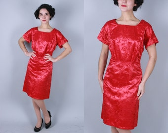 1950s Gerbera Red dress | vintage 50s embroidered satin sheath dress | extra large