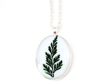 Real Fern Resin Pendant Necklace -  Real Pressed Fern Encased in Resin,  - Pressed Flower Jewelry - Resin Jewelry, Botanical Jewelry