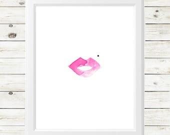 retro makeup print - bombshell art print - pink lipstick art print - retro red lipstick - inspirational art print - feminine art print