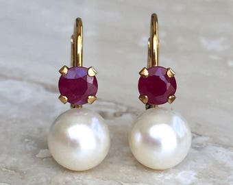 Gorgeous Classic and Pristine 14k Pearl 6.3mm and Ruby 4mm Leverback Earrings