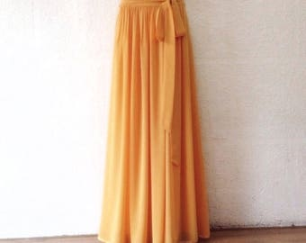 Copper Bridesmaid Skirt. Long Evening Skirt. Copper Maxi Skirt. Chiffon Floor Length Skirt.