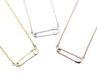 Tiny Safety Pin Necklace - Dainty, Simple, Birthday Gift, Wedding Bridesmaid Gift
