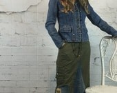 Maxi Skirt, Long Skirt, Boho Clothing, Denim Maxi Skirt, Denim Skirt, Long Denim Skirt, Upcycled Clothing, Bohemian Clothing, Jean Skirt