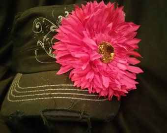Cute cadet hat with big pink flower