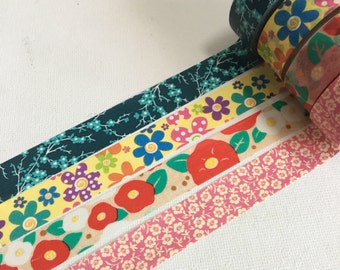 1 Roll of Japanese Washi Tape (Pick 1) -Floral Themes of Blue, Yellow, Red or Pink