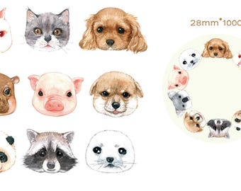 1 Roll Limited Edition Washi Tape- Cute Animals