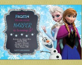 Frozen Birthday Invitation, Elsa and Anna Birthday Invitation, Frozen Invitation, Elsa Invitation, DIY Printable , Frozen