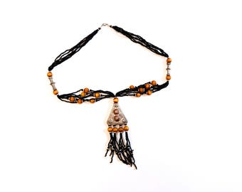 Black Necklace with Silver Pendant and Agate Stone Beads from Afghanistan, 1960s