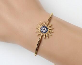 Gold sun bracelet, evil eye bracelet, zircon crystal, adjustable bracelet, fashion jewelry, christmas gift, gift for her