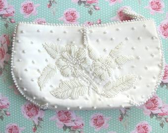 Sale - Clutch Purse - Bridal Clutch - Wedding Clutch - White Pearl Clutch - Evening Satin Bag - Mid Century Bon Soir - Made in Japan Handbag