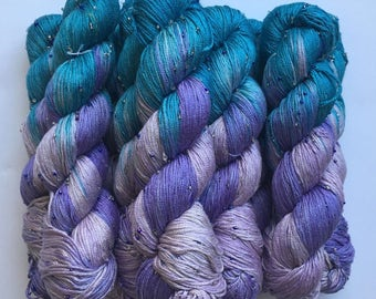 Hand Beaded & Dyed Mulberry Silk Yarn // MERMAID - Light Teal, Lavender, Light Purple Silver // Approx 220 yards per skein // 1 Skein