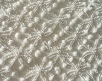White Cabin Crafts Vintage Chenille Mini Double Wedding Ring Bedspread Fabric Piece...12 X 18""