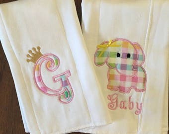 Two custom-made and personalized baby burp cloths- baby shower gift- baby girls
