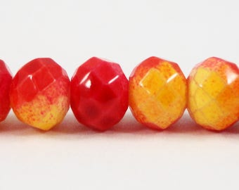 """Faceted Glass Rondelle Beads, 6x4mm (4x6mm) Painted Red and Yellow Crystal Beads, Opaque Chinese Crystal Beads on a 9"""" Strand with 50 Beads"""