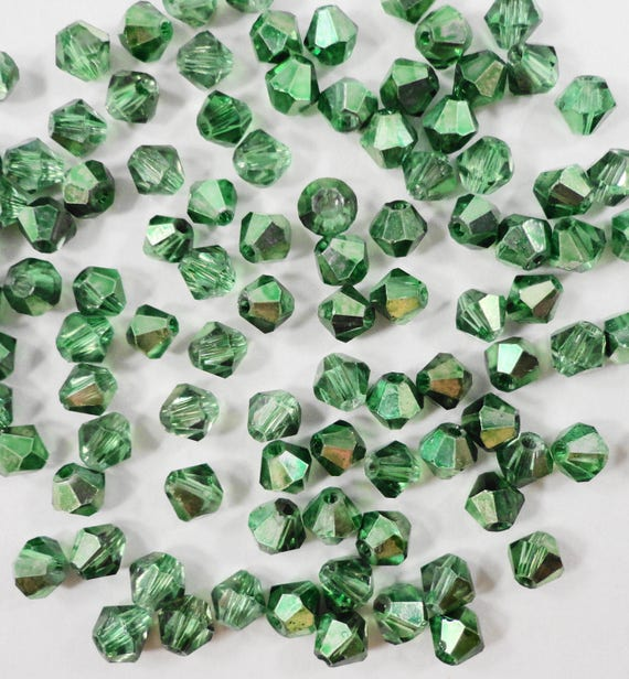 100pcs 3mm Bicone Crystal Beads, Half Metallic Green Crystal Beads, Tiny Faceted Chinese Crystal Glass Beads for Jewelry, Beading Supplies