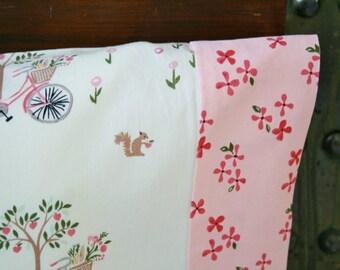 Ready to Ship, Organic Toddler Pillowcase, Organic Travel Pillowcase, Bloom, Kitties, Bicycles