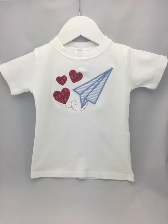 Adorable Valentines Day Paper Plane T-Shirt, Toddler and Infants, Name can be added at no charge