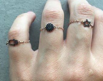 Statement rings on rose gold plated chains