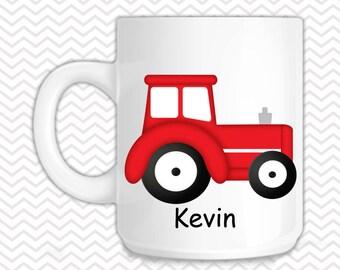 Tractor Red Kids Mug - Personalized Tractor Mug - Customized Mug - Melamine Cup - Personalized Kids cup