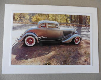 Photo Note Card- Classic Coupe, vintage car decor,