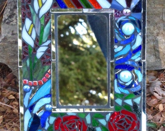 "Stained Glass Mosaic Mirror 11 1/2""x 8 1/2"""