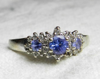 Tanzanite Engagement Ring 14K White Gold Ring Anniversary Ring Past Present Future Ring Diamond Halo Tanzanite Engagement Ring December Gift