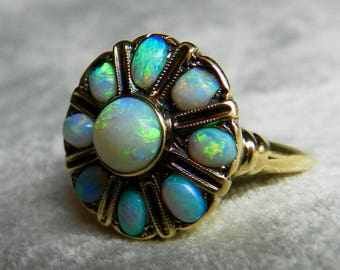 Opal Halo Ring Semi Black Opal Engagement Antique Australian Blue Opal Halo Ring October Birthday
