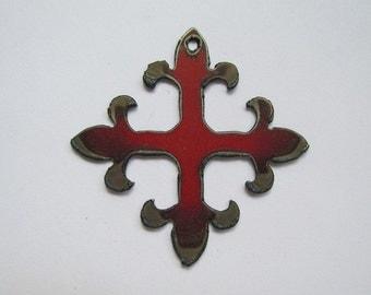 Fluer De Lis (RED) metal pendant # EWKS-7