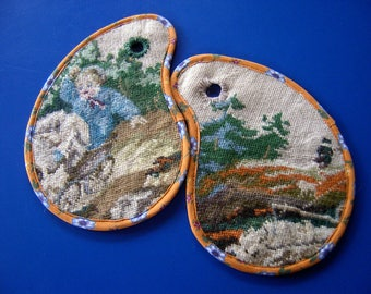 Potholder set, recycled wool embroidery, felted wool embroidery ovenglove, YinYang pot holder, coaster, multicolored
