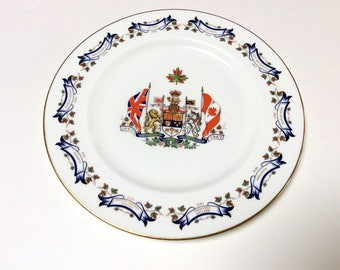 Vintage Aynsley Canadian Centennial Plate, Canadian Coat of Arms, Mint Condition, 1960s
