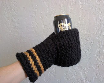 Beer Mitten / Beer Glove / Black and Gold / Beer Gift / Tailgating / Ice Fishing / School Colors / Team Colors / Gift Under 25