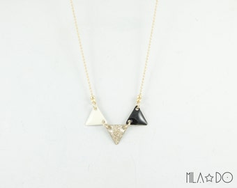Poko necklace in ivory, gold glitter and black || Geometric modern necklace