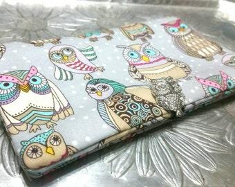 Women's Wallet, Pastel Owl  Wallet, Clutch