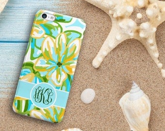 Tropical floral Iphone 6s Plus case, Turquoise and gold, Monogram Iphone 6 case iPhone 7 iPhone 7 Plus iPhone 8 iPhone 8 Plus for her (1638)