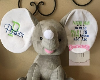 Gray Personalized Stuffed Elephant