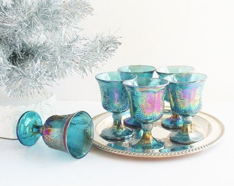 Six (6) Indiana Iridescent Blue Carnival Glass Wine Goblets Stemware / Art Nouveau Traditional Bohemian / Christmas Holiday Entertaining