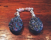 ONLY ONE PAIR - Titanium Aura Quartz Druzy Chakra Opening Earrings - Open and Energize Your Chakras