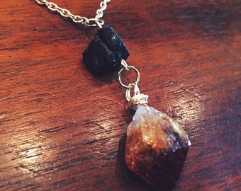 Citrine and Black Tourmaline Abundance, Protection and Confidence Necklace - Reiki Crystal Healing Jewelry