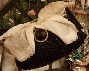 Antique Black Beaded Purse with Hankie and Button Shabby Victorian